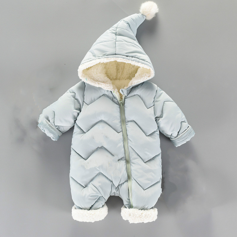 Winter Baby Clothes Winter Jacket and Baby Romper Thick Down Jacket Warm Out of Newborn pu leather and corduroy spliced zip up down jacket