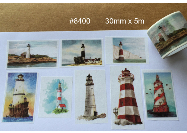 2016NEW 1Roll=30mmx5m HighQuality Lighthouse Pattern Japanese Washi Decorative Adhesive DIY Masking Paper Tape Label Sticker