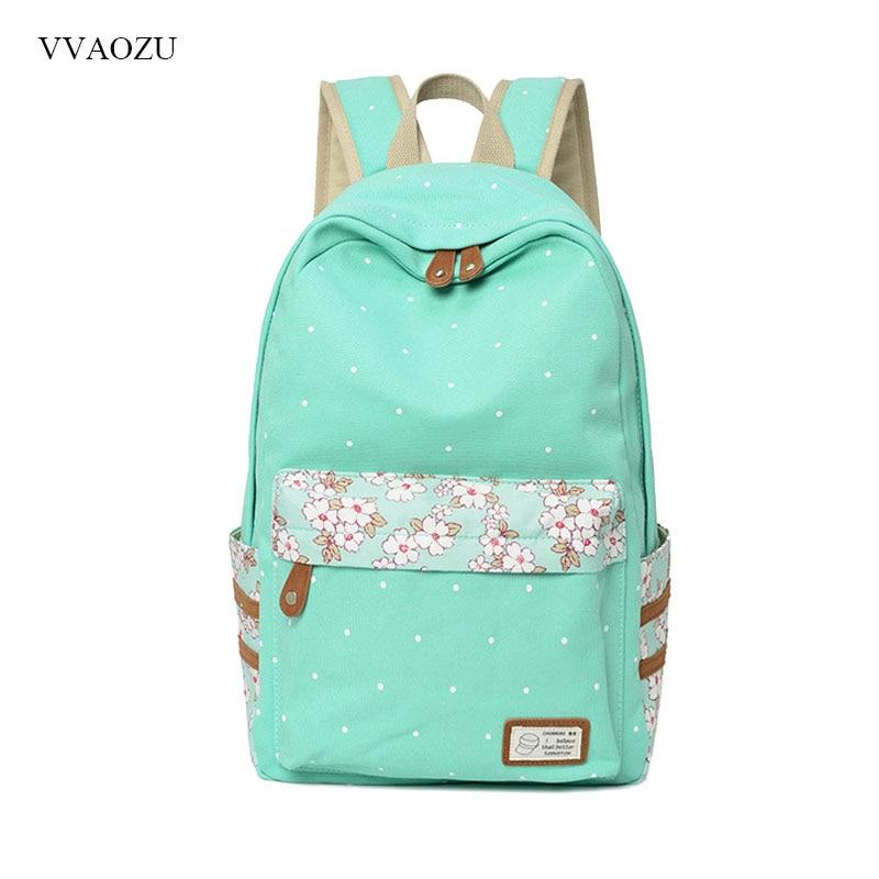 Women Polka Dots Canvas Laptop Backpack Cute Floral Patchwork Rucksack Bookbags School Student Daypack For Teen Girls Mochila все цены