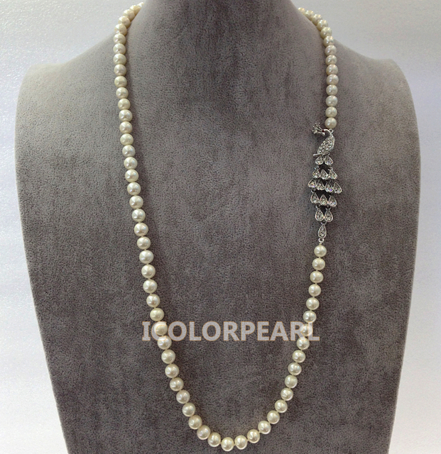 70CM Elegant 8-9mm Round White Natural Freshwater Pearl And Silver Plated And Crystal Peacock Jewelry Sweater  Necklace