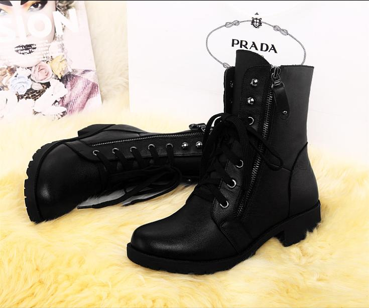 3aae8d570 Hot sale Winter round toe ankle boots Leather Women Skinny legs motorcycle  Boots lace up Plus thick velvet female Snow boots-in Women's Sets from  Women's ...