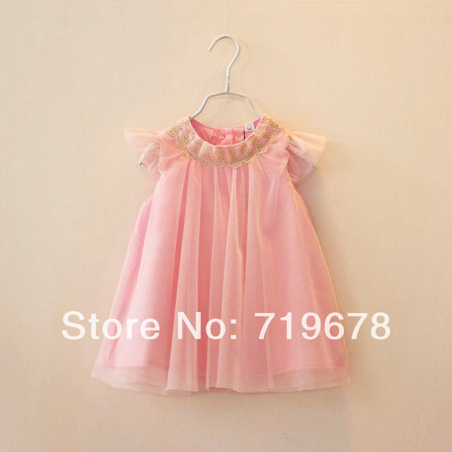 978f0bfe7 Wholesale European kids summer dress baby girl pink Gold lace ...