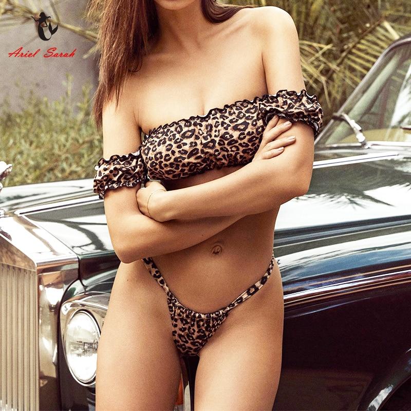Traje De baño Biquini De leopardo De Ariel para mujer Bikini sólido con hombros descubiertos Bikini Push Up Maillot De Bain