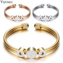 Регулируемый Открытый браслет из нержавеющей стали, браслеты, 3 цвета, Браслет-манжета для женщин, ювелирные изделия, подарок для женщин