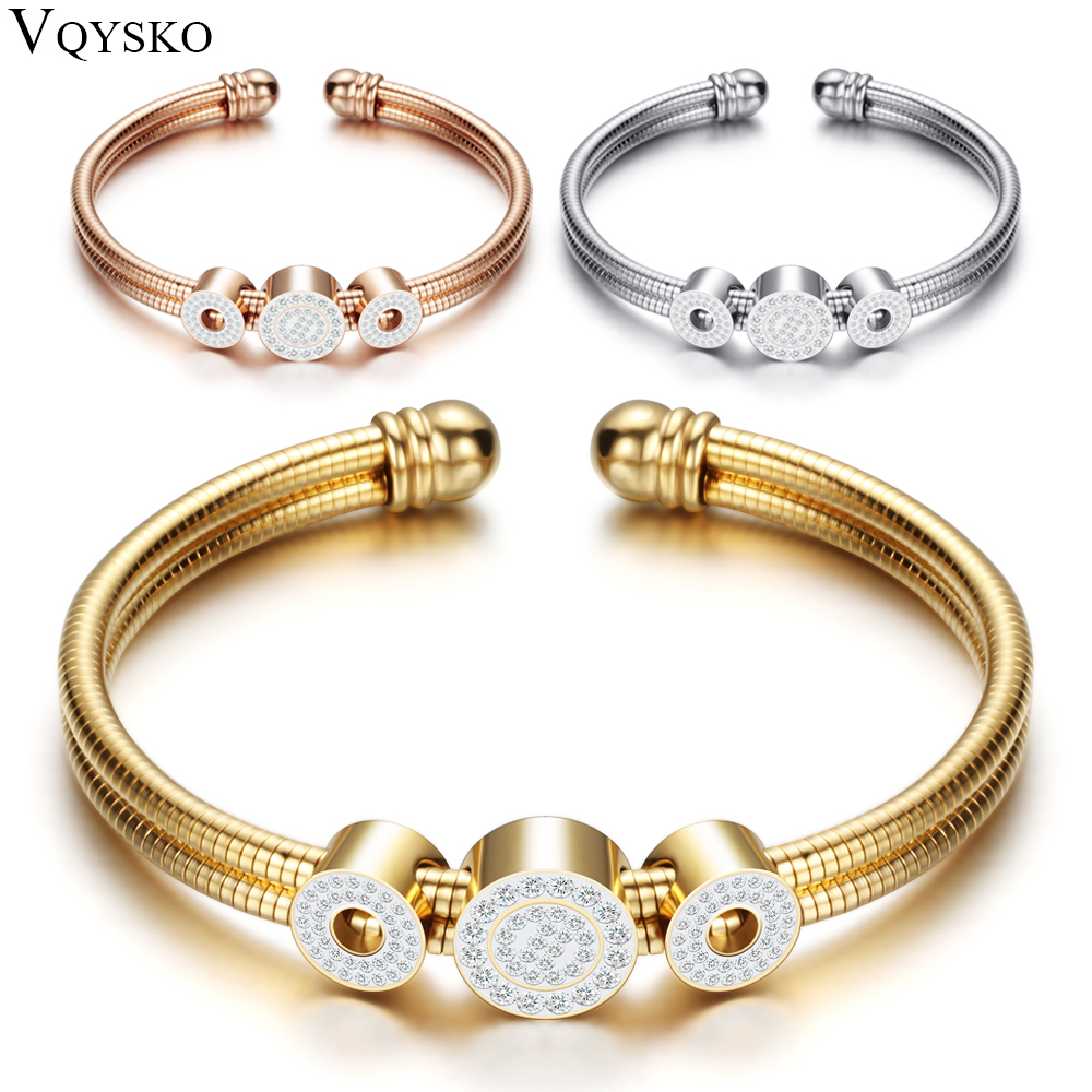 цена Adjustable Open Stainless Steel Bracelet Bangles 3 Color Cuff Bracelet For Women Jewelry Gift For women