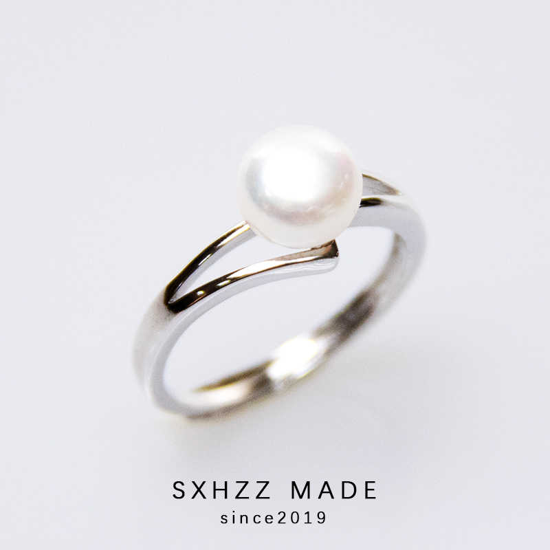 SXHZZ Freshwater Pearl Ring White Color Bride Wedding Engagement Jewelry For Women Ladies Antique Silver Color Love Gifts Simple