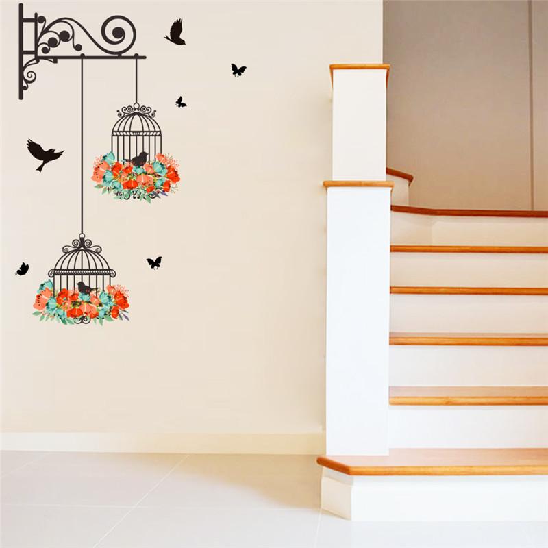 HTB1s2h1QXXXXXX3XFXXq6xXFXXXY - Colorful Flower birdcage wall sticker