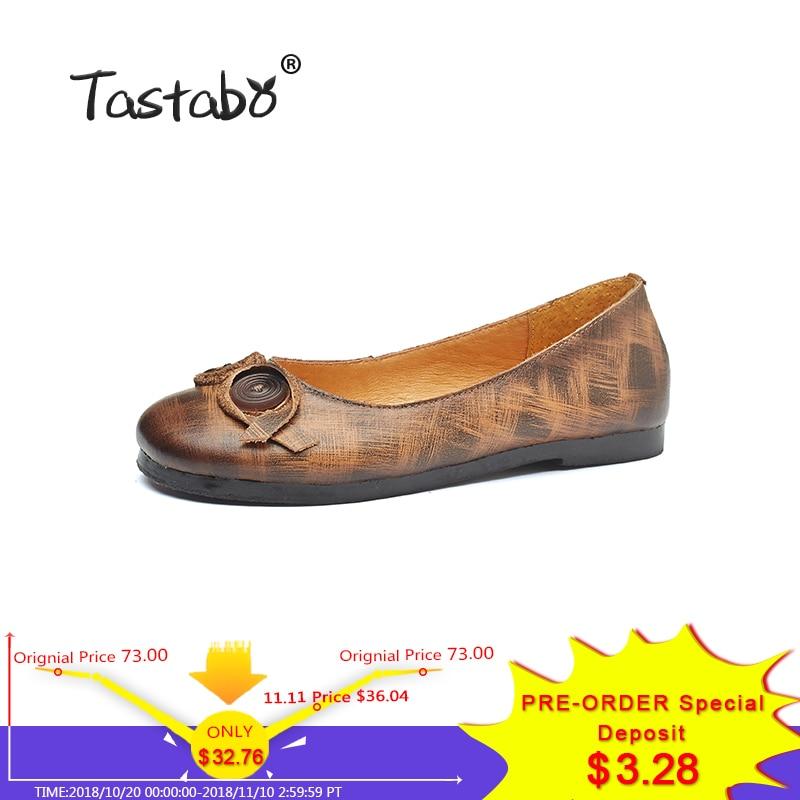 Tastabo Women Shoes Handmade Genuine Leather Soft Flats Driving Shoe Round Women Flats коробка для клапана gardena v1 01254 29 000 00