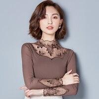 Autumn influx of new gauze shirt female female long sleeved shirt plus thick velvet autumn and winter wild big yards