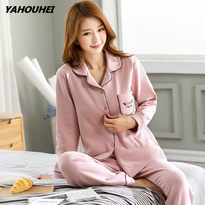 2019 Autumn Winter Female   Pajamas     Set   Polyester Full Trousers Lady Two Piece Warm Thickness Cotton Winter Women's Home Clothing