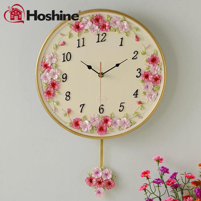 Hoshine Brand Guaranteed Carved Pansy Flower Wall Clock Living