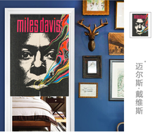 Taiwan Japan style Chinese American rock music poster bar fabric door curtain shade hanging curtain bedroom living room kitchen
