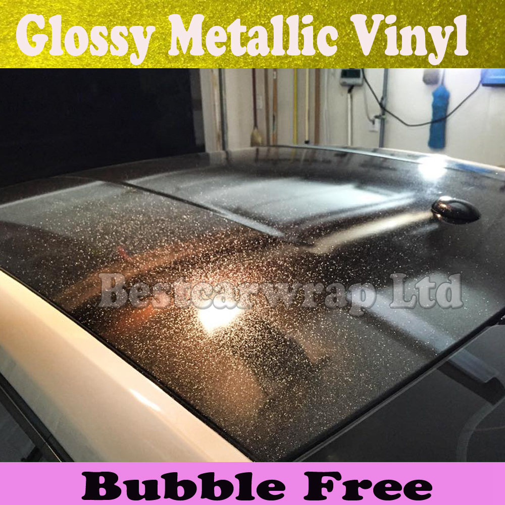 Black Glossy Metallic Vinyl Wrap Car Wrapping Film With