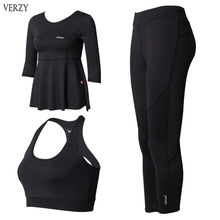 2017 Hot Sale Sports Bra 3 Pieces Exercise Women Tracksuits Sports Suits Women Yoga Set Fitness Breathable Running Leggings