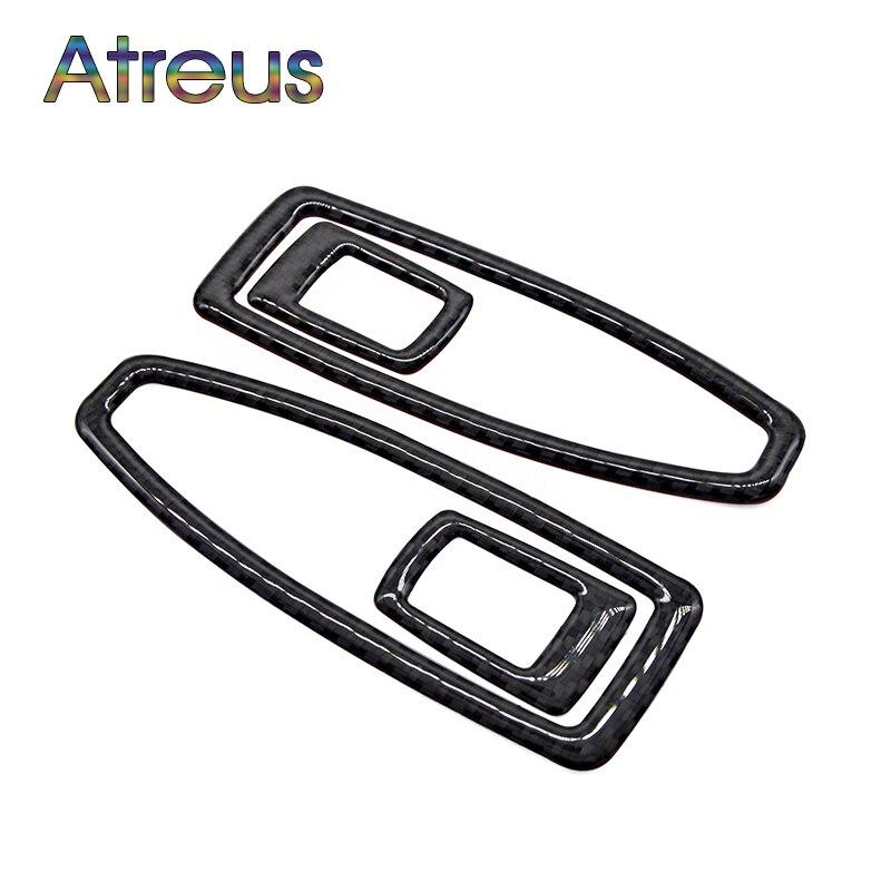 Atreus 4pcs Car Window Lifter Switch Cover Carbon Fiber