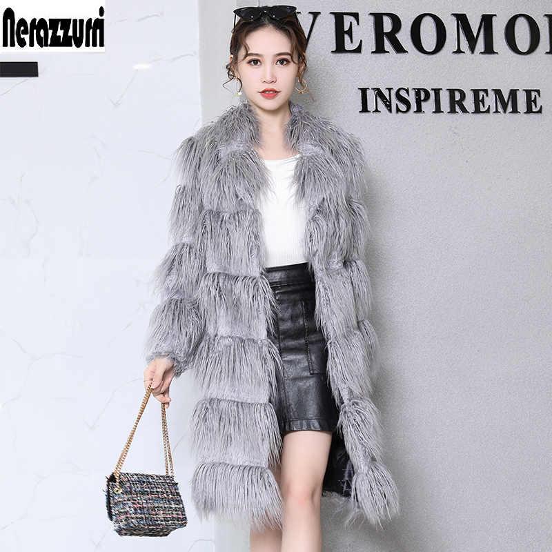 Nerazzurri Faux fur coat 2019 ฤดูหนาวสีเทายาว haired furry fluffy ปลอม fu เสื้อ plus ขนาดเสื้อผ้าผู้หญิง 4xl 5xl 6xl 7xl