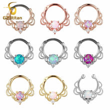 G23titan Opal Stone Septum Clip Clicker Nose Piercing Rings Charming Opal Crystal Nipple Ear Piercings Earrings Body Jewelry