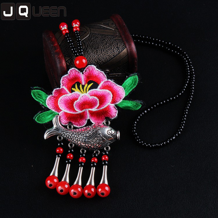 1 Piece Fashion Ethnic Jewelry Long Tassel Necklace Rose Red Fish Embroidery Flower Vintage Necklace Collier Femme
