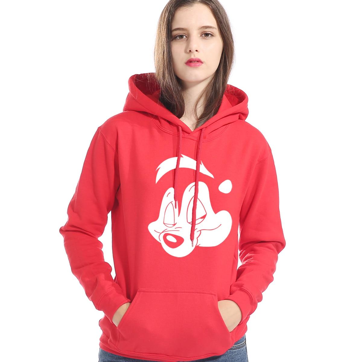 Pepe Le Pew Cartoon Print Sweatshirt For Women Hoody 2019 Autumn Winter Fleece Women's Hoodies Hip Hop Tracksuit Kawaii Hoodie