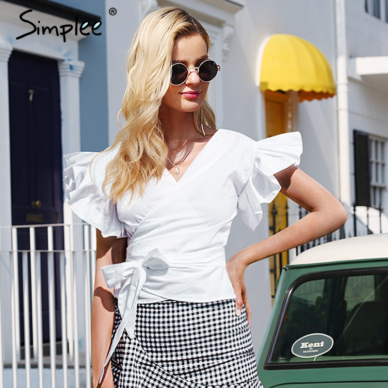 Simplee Sexy v neck white wrap blouse shirt women Butterfly sleeve casual summer blouse 2018 Bow ruffle ol workwear crop top