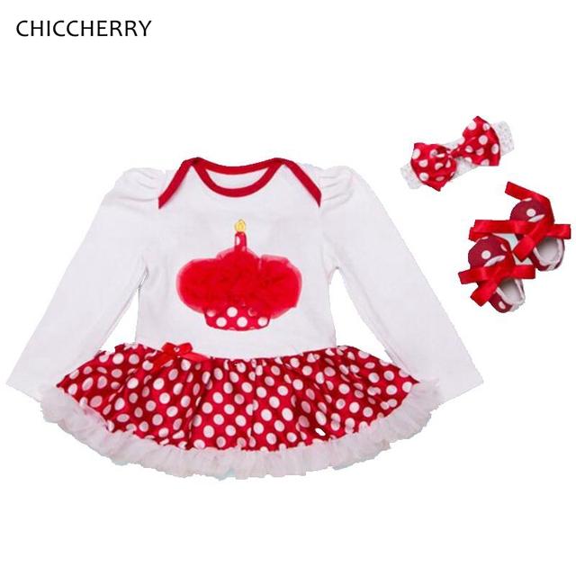 Rojo cupake 1st birthday dress princesa del tutú del cordón niña establece con diadema niño mameluco del cordón roupa bebe ropa de los niños