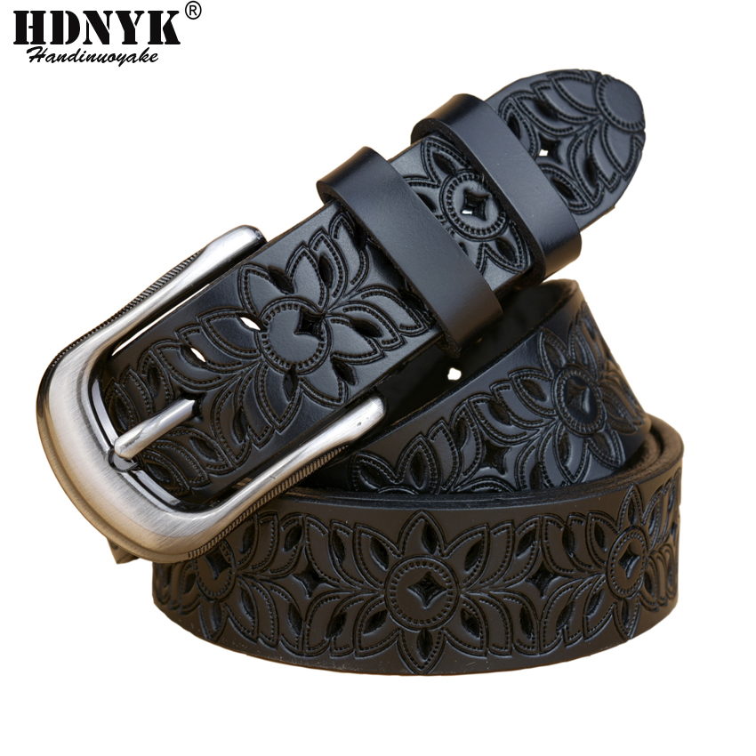 New  Fashion Women Belt Hot Ladies Real Cow Leather Hollow Out Belt Straps Girls Fashion Accessories All-match Waistband