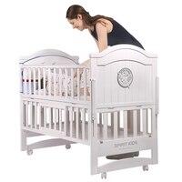 Белая сосновая деревянная детская кроватка длиной 110 см, может быть преобразована в детскую кровать, детская кроватка может быть качалка ко