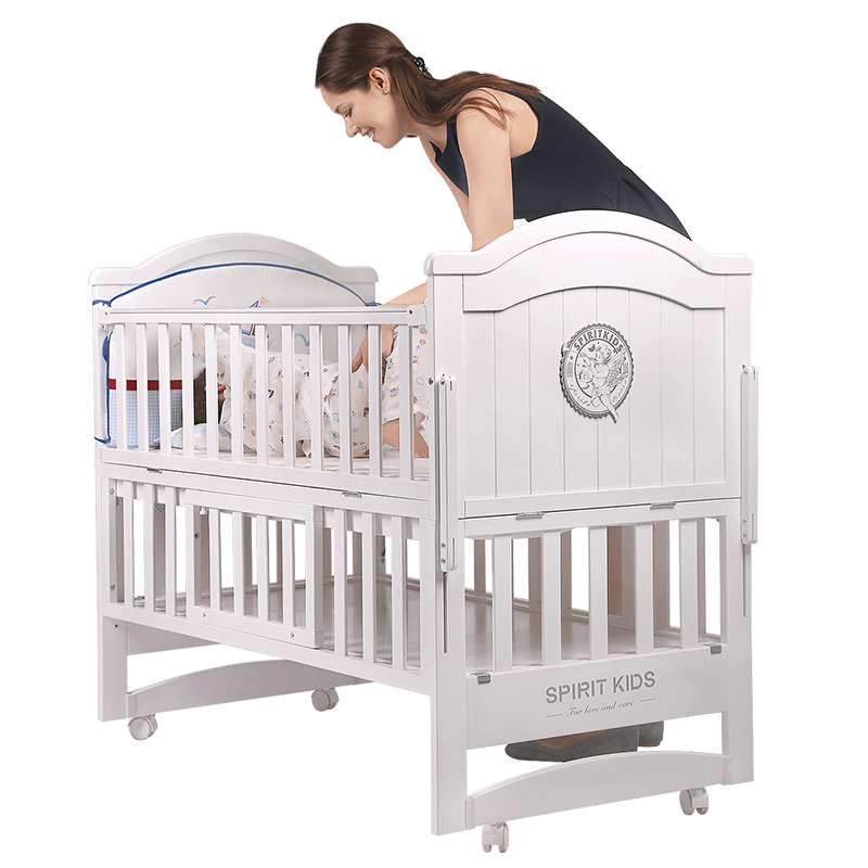 White Pine Wood Baby Bed 110cm length , can Converts into a Junior Bed, baby crib can be rocking cradle, bed can extend to 160cmWhite Pine Wood Baby Bed 110cm length , can Converts into a Junior Bed, baby crib can be rocking cradle, bed can extend to 160cm