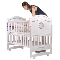 White Pine Wood Baby Bed 110cm length , can Converts into a Junior Bed, baby crib can be rocking cradle, bed can extend to 160cm
