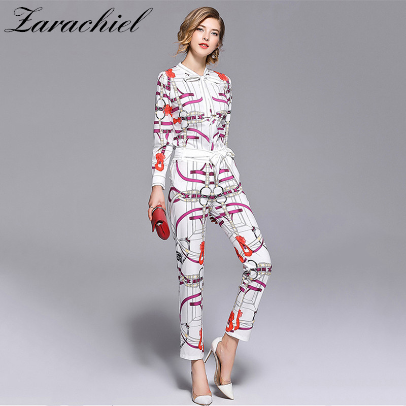 2018 Fashion Chain Printed Suit Sets 2 Piece Bow Collar Full Sleeve Shirt Top + Belt Pencil Pants Sets For Women Runway Twinsets