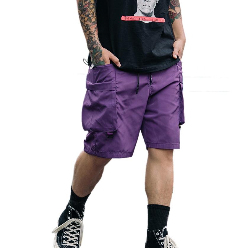 Pocket Shorts Streetwear Purple Clothing Elastic-Waist-Shorts Fashion Kee-Length Casual