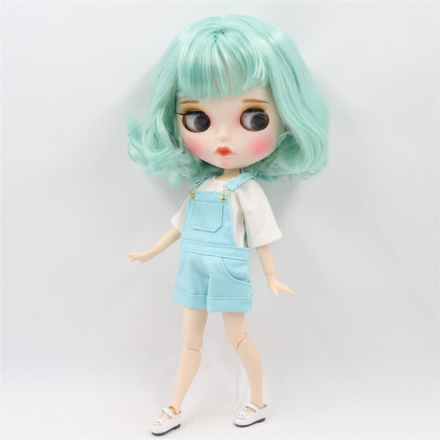 TBL Neo Blythe Doll Short Mint Green Hair Jointed Body