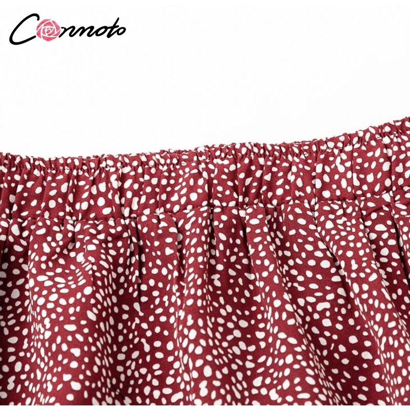 Conmoto 19 High Waist Flounce Beach Women Skirts Polka Dot Feminino Summer Skirts Ruffles Asymmetrical Elegant Midi Skirt 10