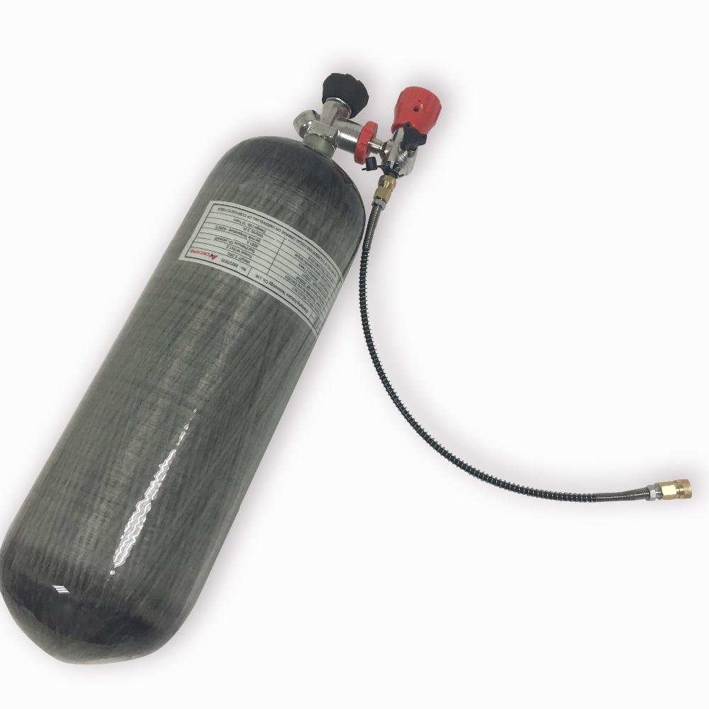 ACECARE Paintball Air Gun Hpa Tank 9L EN12245 300bar Carbon Fiber Diving Tank Pcp Accessories With Gague Din Valve AC109301