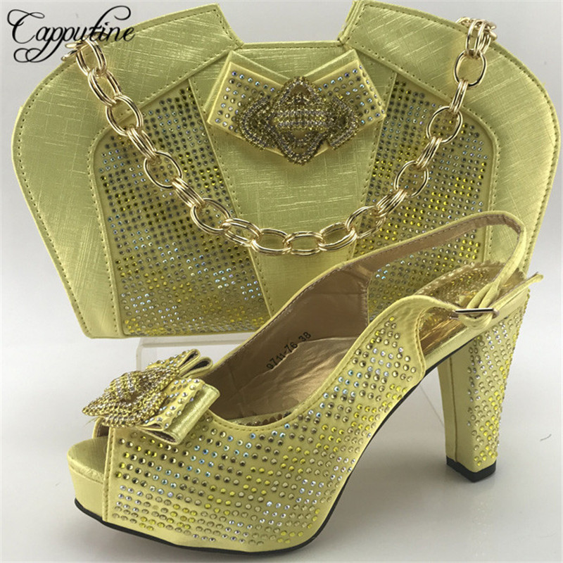 Capputine African New Arrival Design Shoes And Bag Set Italian Summer Woman High Heels Shoe And Bag Set For Party ME7710 capputine new italian woman pu leather shoes and shopping big bag set african fashion high heels shoes and bag set for party