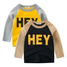 358605cc87 Primavera de 2019 niños de manga larga ropa de niño sudaderas niños T  camisas niños carta oye ropa para 2 3 4 5 5 5 6 6 7 años