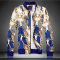 2015 Otoño estilo Único oro impreso Floral chaquetas abrigos hombres azul delgada ocasional impresa flor chaquetas hombres de gran tamaño M-5XL