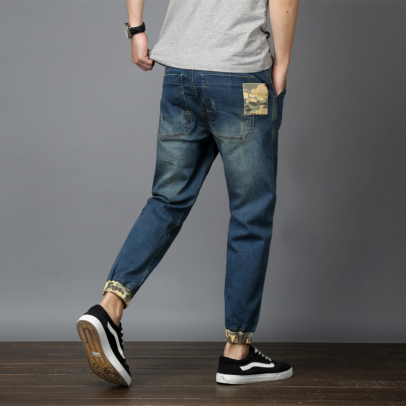Drizzte Mens Stretch Jeans Plus Size 42 44 46 48 Denim Tapered Loose Jeans Patched Big Large Jean Trousers