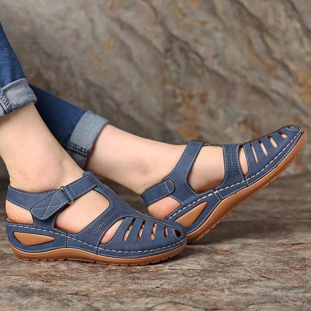 HTB1s2jLbgFY.1VjSZFqq6ydbXXaH Women's Sandals Summer Ladies Girls Comfortable Ankle Hollow Round Toe Sandals Female Soft Beach Sole Shoes Plus Size C40#