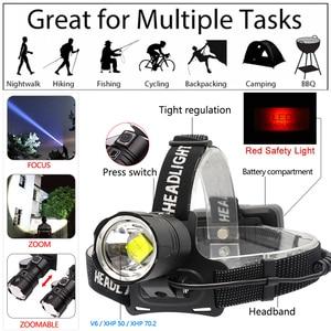 Image 2 - 7000 Lumen XHP 70.2 led Headlamp Fishing Camping headlight High Power lantern Head Lamp Zoomable USB Torches Flashlight 18650