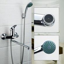 RU современный Ванная комната смеситель для душа Ванны кран смесителя с ручным Насадки для душа смеситель для душа Установить Настенные