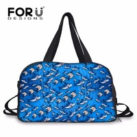 FORUDESIGNS Blue Animal Shark Dolphin Travel Bag Portable Carry On Traveling Luggage Bags Large Women Road