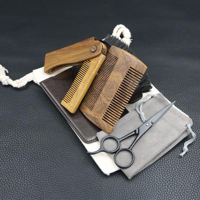New Arrival Beard Grooming & Trimming Kit for Men Care - Beard Brush Beard Comb Barber Scissors for Styling Shaping & Growth 1