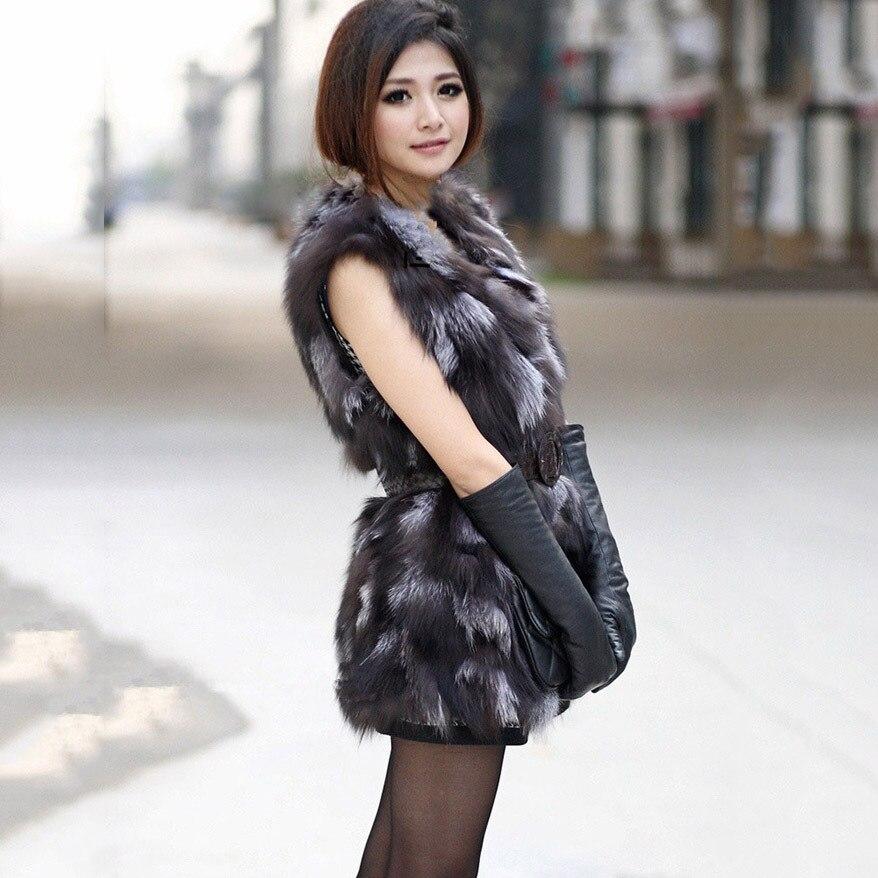 Automne New long Fourrure Color American Femelle Printemps Réel Moyen De European Gilet Fox Outwear hiver Silver Manteau Naturel qRqrtv4wfx