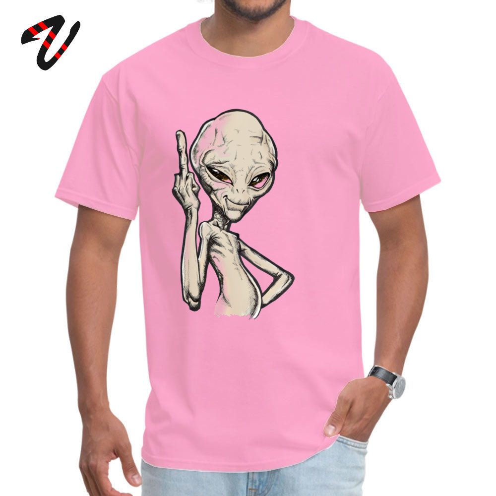 Paul the Alien Tops T Shirt Prevalent O Neck Simple Style Short Sleeve All Cotton Student T-Shirt Funny Tee-Shirt Paul the Alien -2324 pink