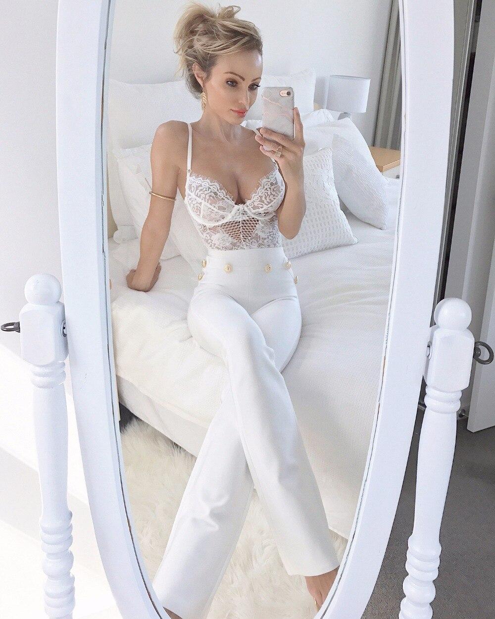 Spring Party Porter Nouveau Blanc Empire Maigre Célébrité Pantalon Taille Long Bouton Haute Bandage Élégant 2019 Flare Piste dfSqwFxd5