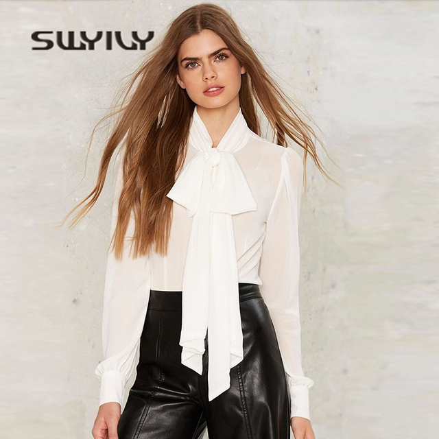 SWYIVY Women Chiffon Blouses Big Bow 2019 Spring Summer Long Sleeve Tie Woman Shirt White Female Summer Breathable Thin Blouse 1