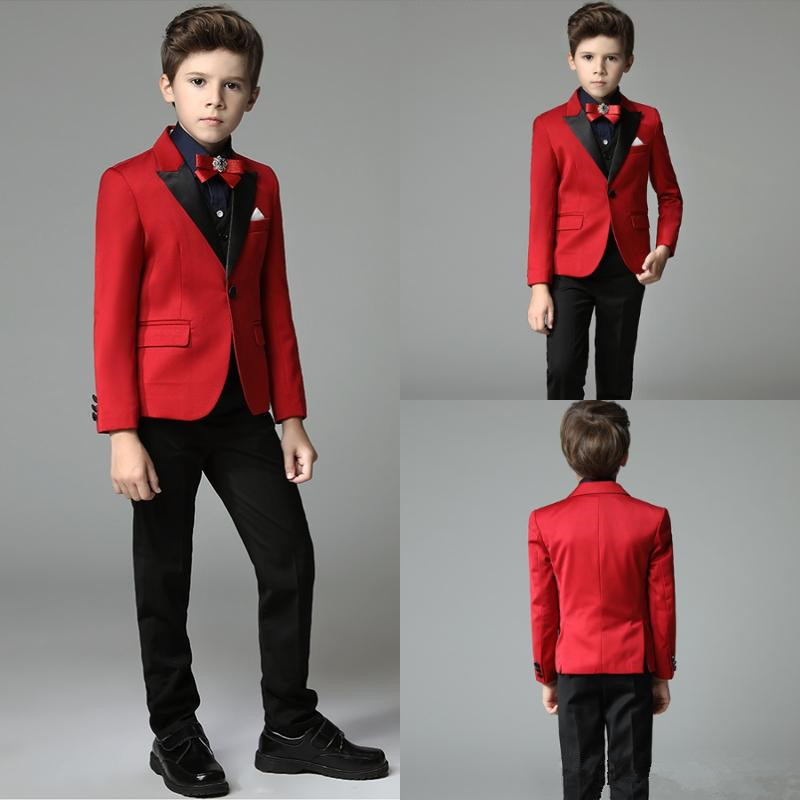 Boys Tuxedo Formal-Suit Lapel Wedding 3piece Party Evening Fashion Red Dinner-Boy's Shawl title=