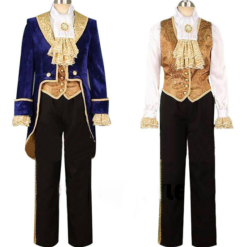 Hot Movie Beauty and the Beast Prince Tuxedo Cosplay Costume For Adult Men Full Set