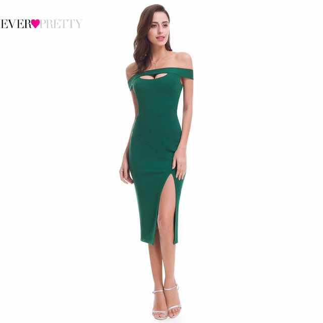 Sexy Off Shoulder Slit Bodycon Cocktail Dress Ever Pretty EP05779DG ...